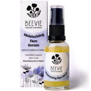 BEEVIE Gesichtsserum Honig Hyaluronsäure Box und Flasche